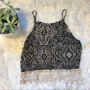 Abercrombie High Neck Crochet Paisley Tie Crop Top